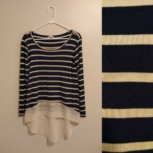 Honey Punch Navy Champagne Striped Knit Hi Lo Top